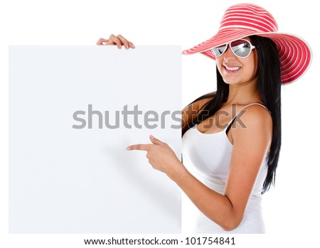 Female tourist with a banner - isolated over white - stock photo