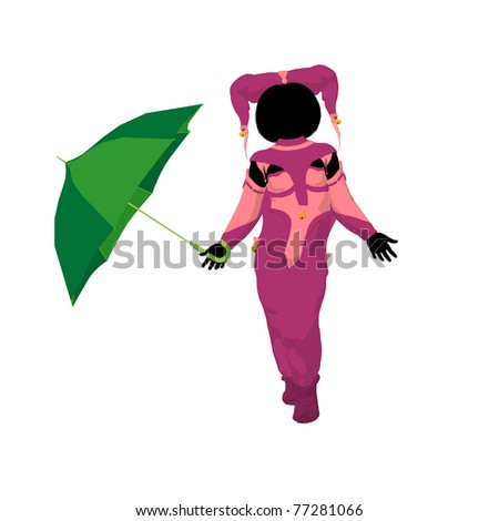 Female tween clown with an umbrella on a white background - stock photo