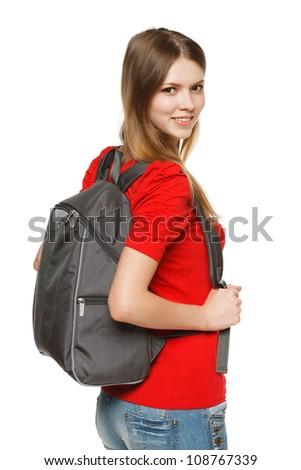 Female university student isolated on white background. - stock photo