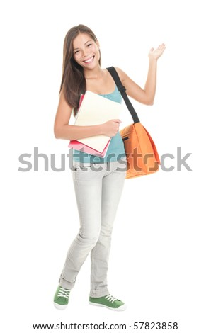 Female university student showing copy space isolated on white background in full length. Young Chinese Asian / Caucasian woman model in full length. - stock photo
