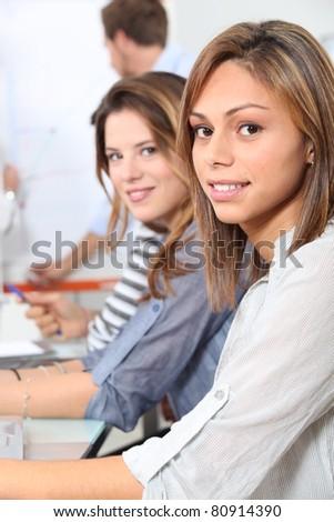 Female university students - stock photo