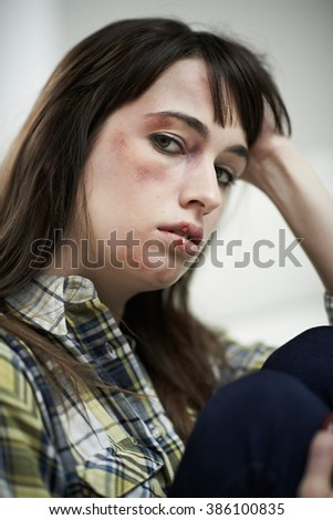 Female Victim Of Domestic Abuse At Home - stock photo