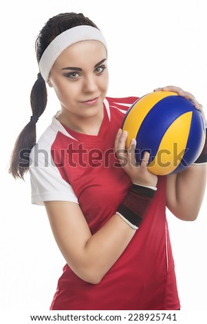 Female Volleyball Player Equipped in Professional Sport Outfit. Standing Isolated Over White Background - stock photo
