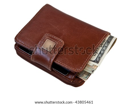 Female wallet with money isolated on white background - stock photo