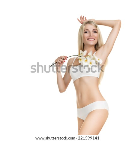 Female waxing armpit in a beauty salon. Ideal smooth clear skin. Depilation. Epilation - stock photo