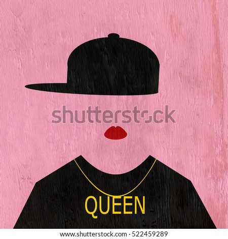 female wearing hip hop fashion with queen necklace on wood grain texture