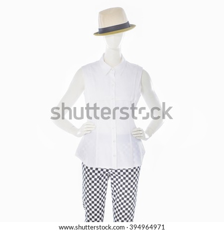 female white clothing with hat on mannequin - stock photo