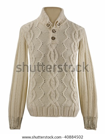 female white knitted woolen sweater, warm winter jacket cardigan sweater - stock photo