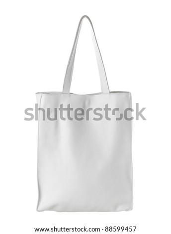 female white leather bag isolated on white - stock photo