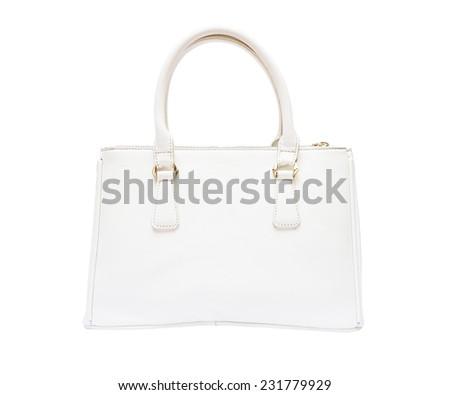 female white leather handbag isolated on white background - stock photo