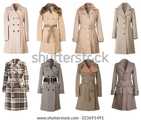Female Winter Woolen Coats Isolated on White Background