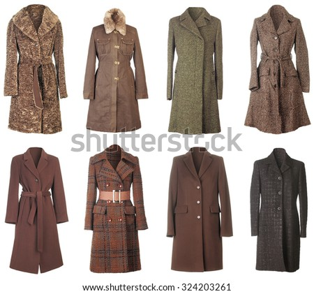 Female Winter Woolen Coats Isolated on White Background - stock photo