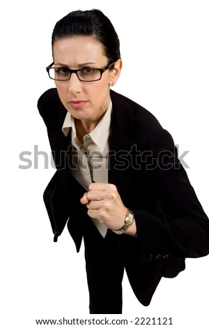 Female with black briefcase running - stock photo