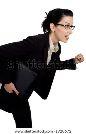 Female with briefcase running - stock photo
