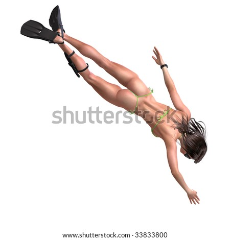 female with diving glasses is siwmming. 3D render with clipping path and shadow over white - stock photo