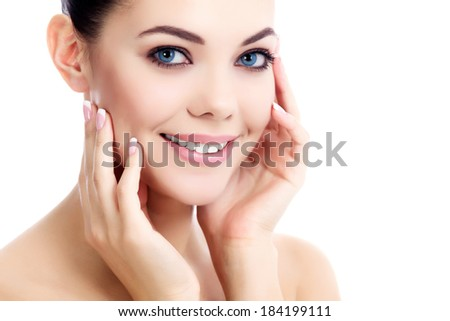 female with fresh clear skin, white background - stock photo