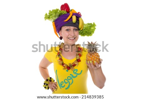 Female with fresh fruits and vegetables as jewelry and accessories