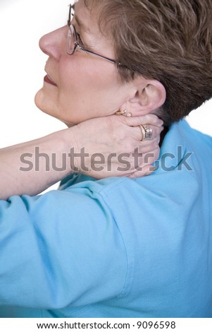 Female with neck pain - stock photo