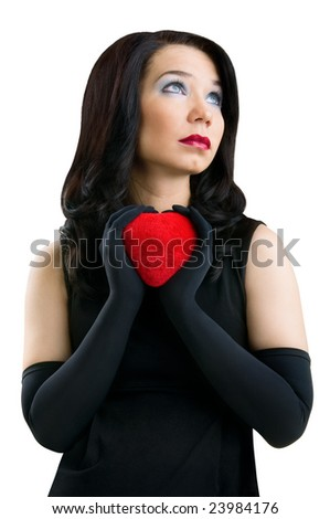 Female with red heart, isolated on white background - stock photo
