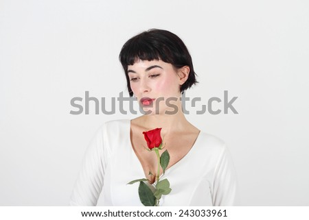 female with rose