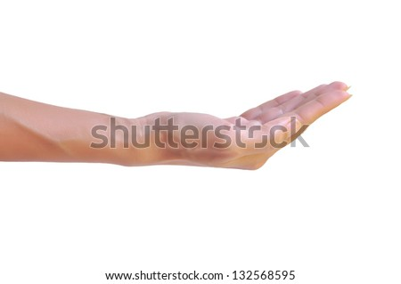 female woman hand holding isolated on white