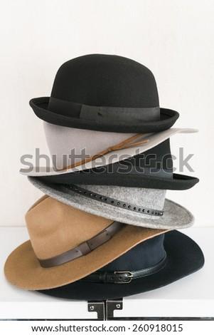 female wool hats on white background - stock photo