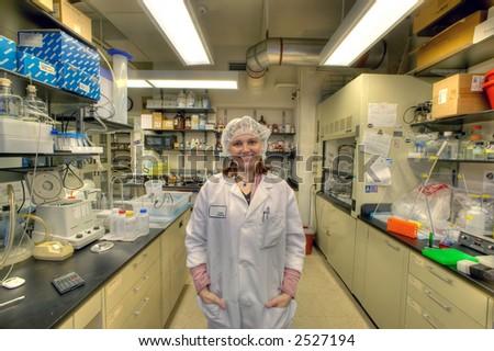 female worker in bio lab - stock photo