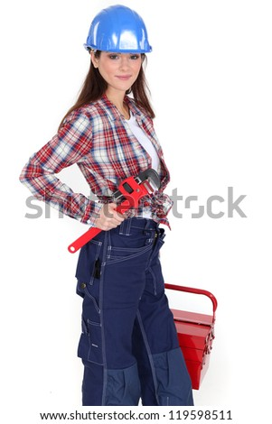 Female worker with a toolbox