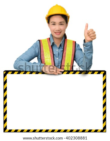 female worker with Protection Equipment, posing behind big white banner, thumb up and looking at camera and copy space, isolated on white background