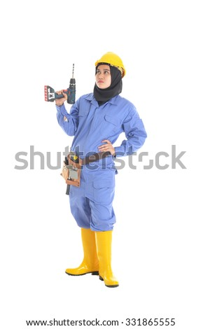 Female workers holding drill on hand, isolated on white background
