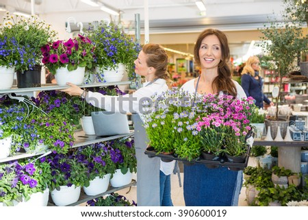 Female Workers Working In Flower Shop - stock photo