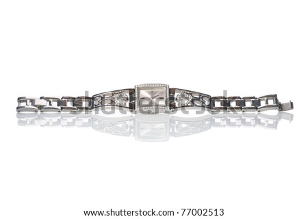 Female wrist watch with diamonds, isolated on white