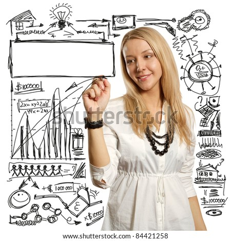 female writing something on glass board with marker - stock photo