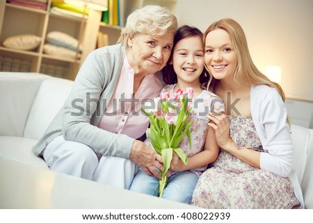 Females with tulips - stock photo