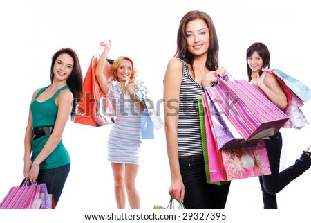 Females young happy with gifts posing at camera. Isolated on white - stock photo