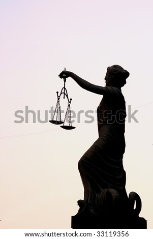 Femida sculpture simbol of justis - stock photo