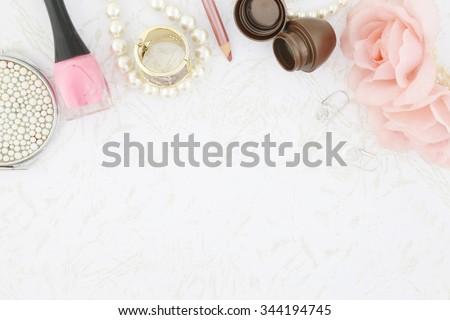 Feminine beauty background - stock photo
