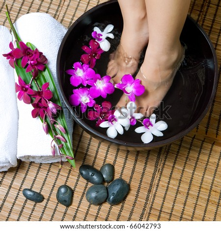 Feminine feet in orchid spa bowl with hot stones - stock photo