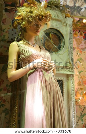Feminine mannequin in beautiful fashionable cloth, festive luxury, for editorial - stock photo