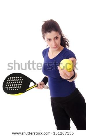 Feminine paddle tennis player - stock photo