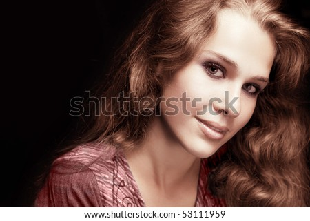 Feminine sensual woman with beautiful shiny hair - stock photo