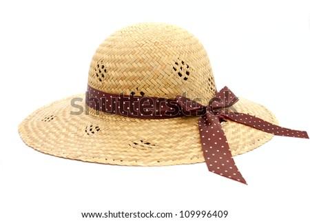 Feminine women's straw hat with the ribbon - stock photo