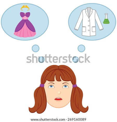 Feminism. Girl Confused by Gender Roles and Stereotypes. A girl tries to decide if she wants to turn away from a female stereotype such as princess and become a scientist. Thought bubbles are used.