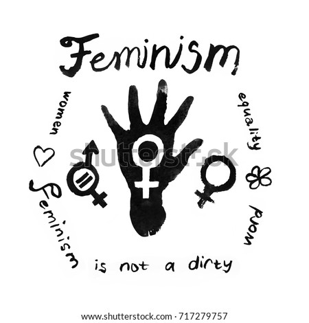 Feminism paper texture hand drawn doodles set with lettering. Black Ink watercolor paint lettering isolated on white background