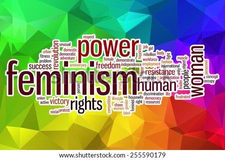 Feminism word cloud concept with abstract background - stock photo