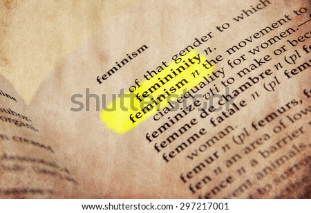 Feminism word in old textured dictionary - stock photo