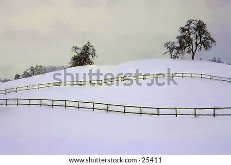 Fence across a snowy field with trees