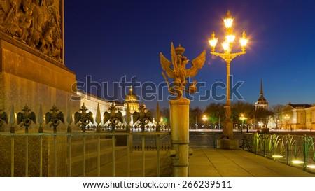 Fence Alexander Column at night, Saint-Petersburg - stock photo