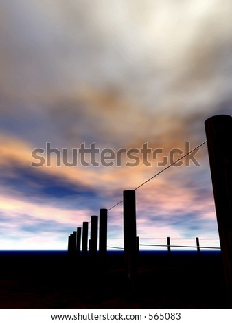 Fence at sunrise - stock photo