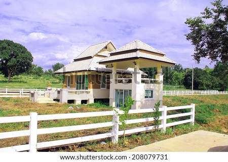 fence horse bungalow good view - stock photo